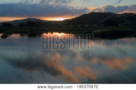 Sunrise over Black Hole Marsh in Seaton Wetlands Devon