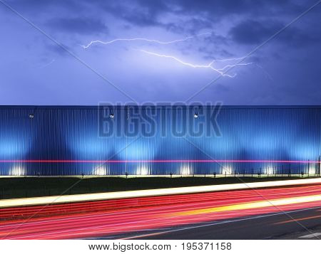 Image of fast road with light effects in the storm