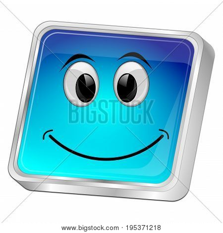 glossy blue Button with smiling face - 3D illustration