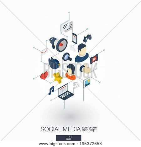 Social Media integrated 3d web icons. Digital network isometric interact concept. Connected graphic design dot and line system. Background for market service, communicate and share. Vector on white.
