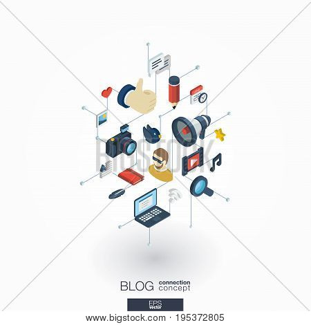 Blog integrated 3d web icons. Digital network isometric interact concept. Connected graphic design dot and line system. Background whith video content publish, post writing, follower. Vector on white.