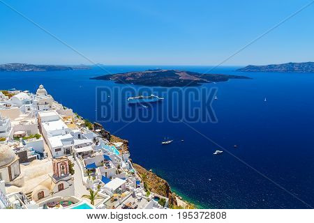 Santorini volcanic caldera as seen from Fira, capital of Santorini,