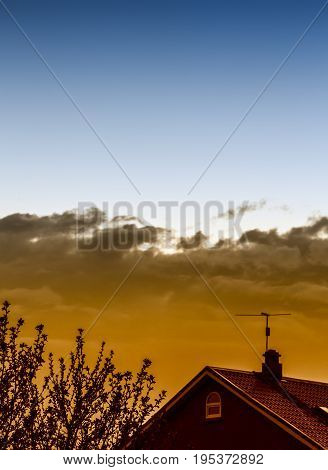 Evening Sky Over The Village