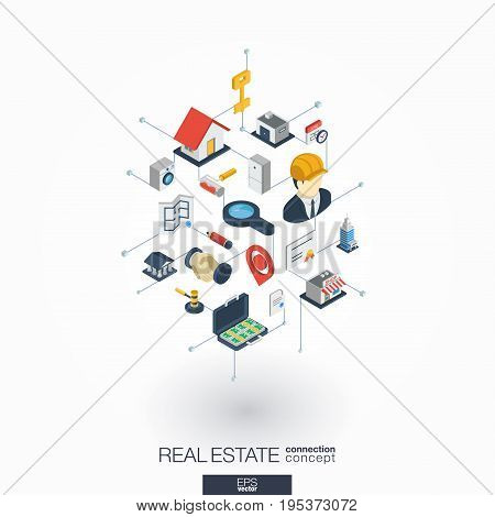 Real estate integrated 3d web icons. Digital network isometric interact concept. Connected graphic design dot and line system. Abstract background for apartment rent, property sale. Vector on white.