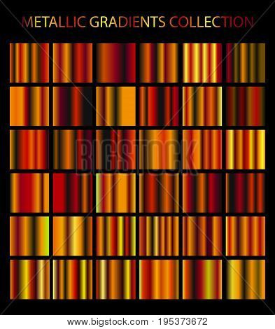 Golden, Cooper, Bronze Colors Gradients Collection. Bright Metallic Luxury Patterns, Templates For Y