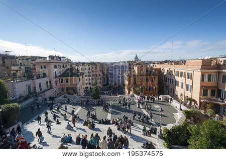 Tourists visiting the Piazza di Spagna on December 31 2013 in Rome Italy