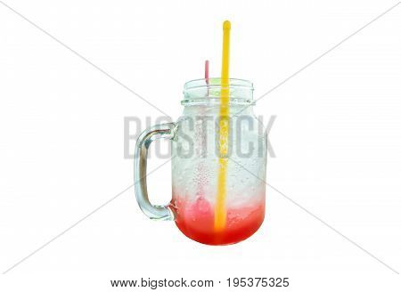 Strawberry soda is a sweet drink. And the taste of soda Is the best drink. For summer isolated on white background.