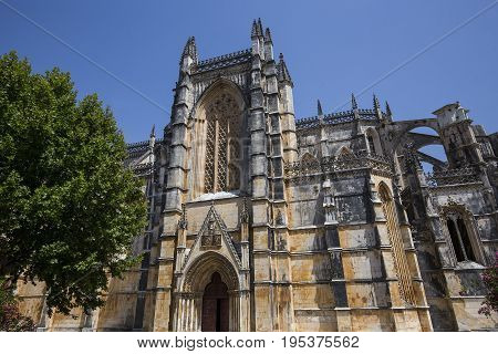 BATALHA PORTUGAL JUNE 20 2017 : architectural details of Batalha monastery june 20 2017 in Batalha Portugal