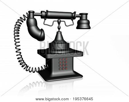 Grey retro phone on white background 3D illustration.