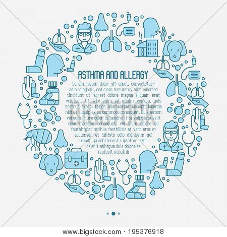 Asthma and allergy concept in circle for web page, banner of clinic, contains thin line icons with allergy symptoms and the most common allergens. Asthma inhaler. Vector illustration.