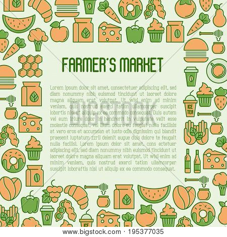 Farmer's market concept with thin line icons: fruits, coffee, tea, honey, food, olive oil. Vector illustration for invitation, banner, announcement.