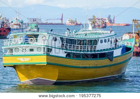 Labuan,Malaysia-Mac 25,2017:View of kumpit boat from the Philippines in Labuan free port,Malaysia.Its a trading vessel of the Philippine Islands.