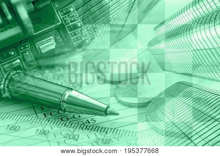 Business background in greens with money device and pen.