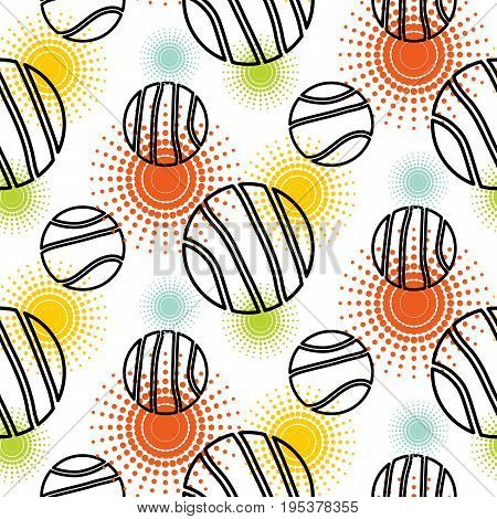 Abstract planet shapes seamless vector pattern. Black and white simple shapes with colorful sunbursts background for website wallpaper and fabric print.