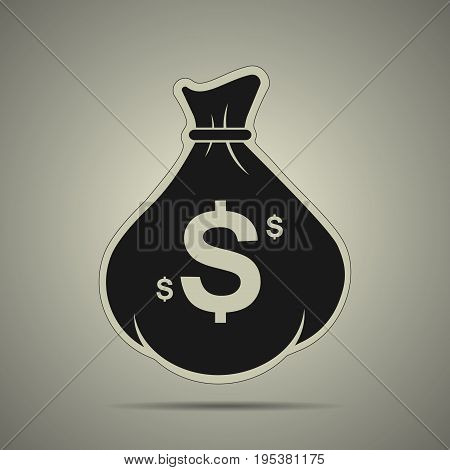 Black money bag icon in flat style black and white colors