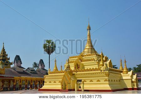 Beautiful Golden Pagoda In Shwe Sar Yan Buddhist Complex In Thaton,  Myanmar (burma).