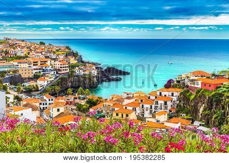 Panoramic view over Camara de Lobos Madeira island Portugal