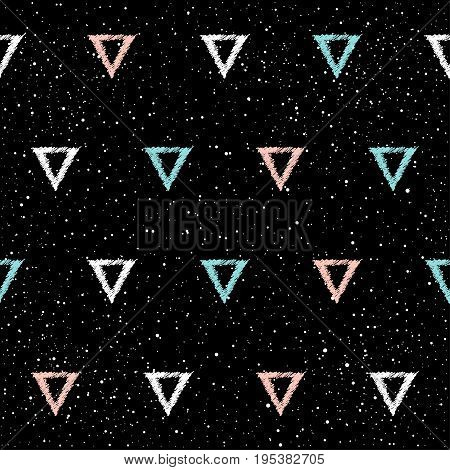 Doodle Triangle Seamless Background. Abstract Childish Blue, White, Pink Triangle