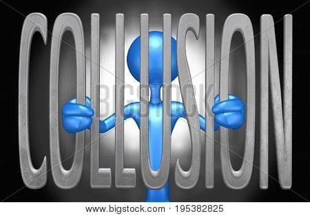 Collusion Law Concept With The Original 3D Character Illustration