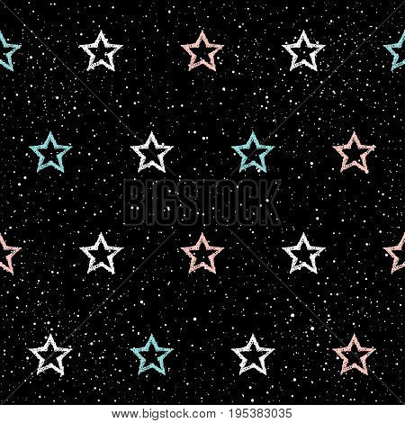 Doodle Star Seamless Background. Abstract Childish Blue, White And Pink Star