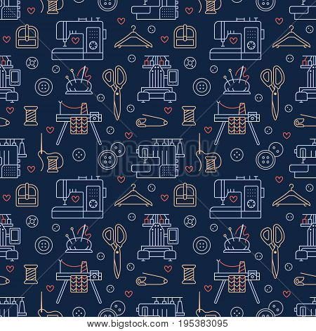 Sewing equipment, tailor supplies blue colored seamless pattern with flat line icons set. Needlework accessories - sewing embroidery machine, pin, needle, DIY tools. Linear signs for hand made store.