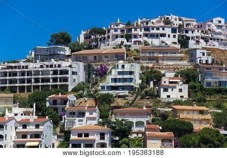 White houses on Montgo hill on the Costa Brava