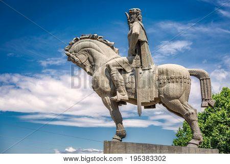 Statue of king Vakhtang Gorgasali in Tbilisi, Georgia.