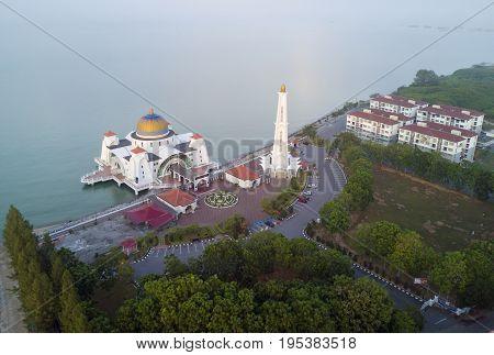 Arial View Of Malacca Straits Mosque During Sunset