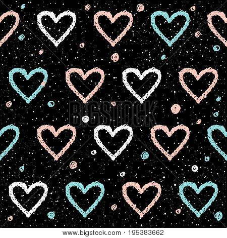 Doodle Heart Seamless Background. Abstract Childish Blue, White And Pink Heart