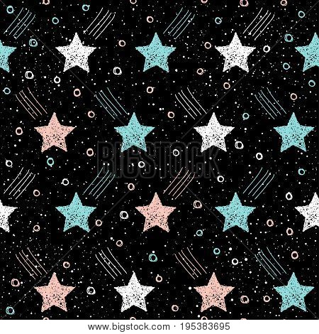 Doodle Star Seamless Background. Abstract Childish Star Pattern