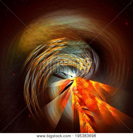 Science fiction. Fractal 3D illustration on the theme of the collapse and destruction of objects in black holes.