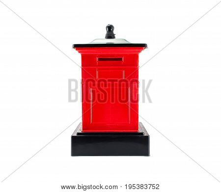 red big mailbox on isolated white background