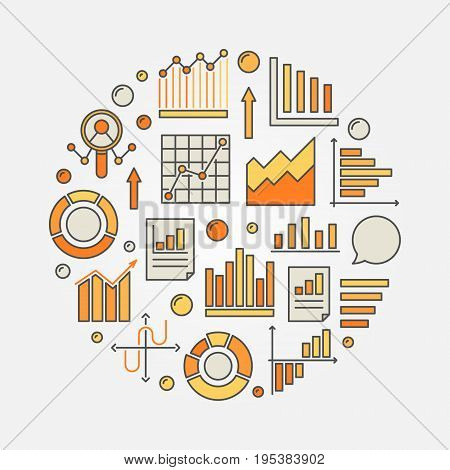 Analysis colorful illustration. Vector round sign made with chart, graph and diagram icons
