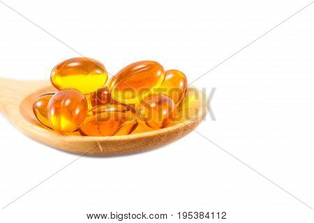omega 3 fish oil capsules on isolated background