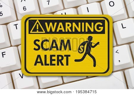 Scam alert warning sign A yellow warning sign with text Scam Alert and theft icon on a keyboard 3D Illustration