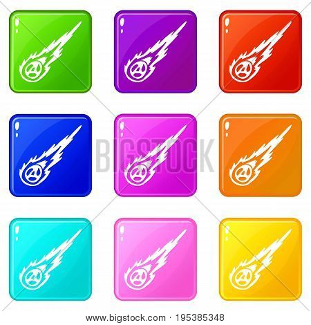 Meteorite icons of 9 color set isolated vector illustration