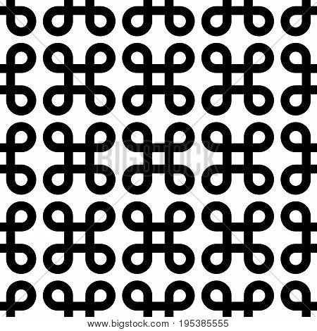 Abstract seamless pattern background. Black bowen knots, or loop square, design elements in linear arrangement isolated on white background. Vector illustration.