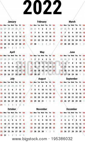 Calendar for 2022 Year on White Background. Week Starts Sunday. Simple Vector Template. Stationery Design Template