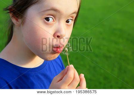 Little girl blowing dandelion in the park.