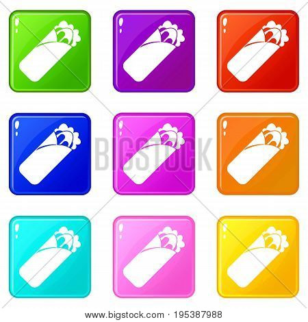 Shawarma sandwich icons of 9 color set isolated vector illustration