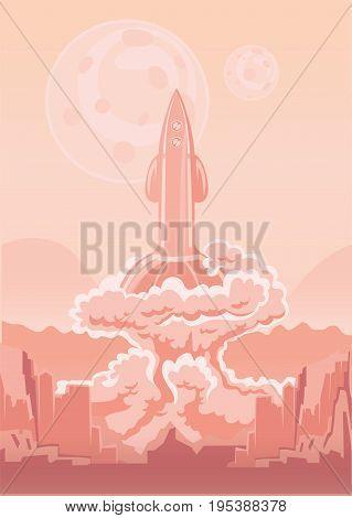 Rocket Space Ship launch. Interplanetary flight. Vector illustration