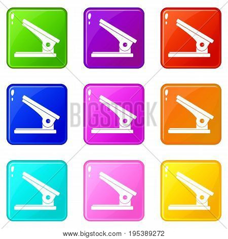Office paper hole puncher icons of 9 color set isolated vector illustration