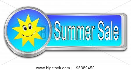 glossy blue Summer Sale Button - 3D illustration