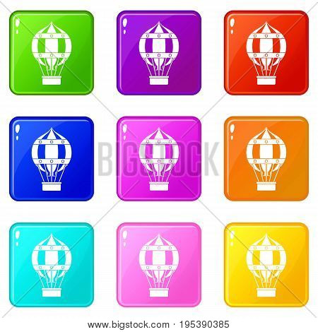 Old fashioned helium balloon with basket icons of 9 color set isolated vector illustration