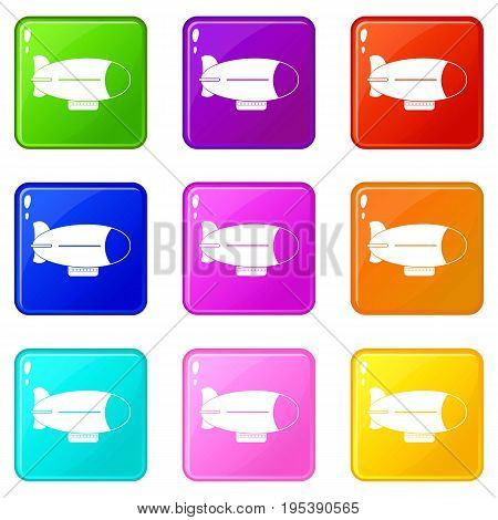 Retro airship icons of 9 color set isolated vector illustration