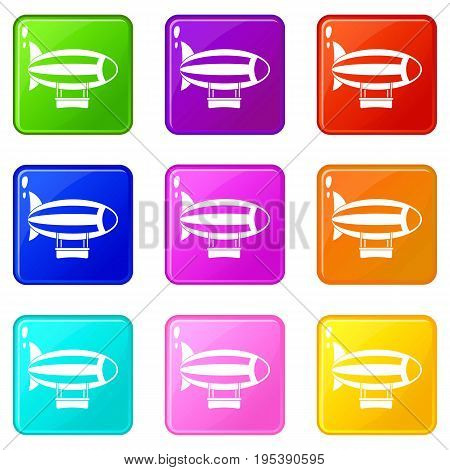 Striped dirigible icons of 9 color set isolated vector illustration