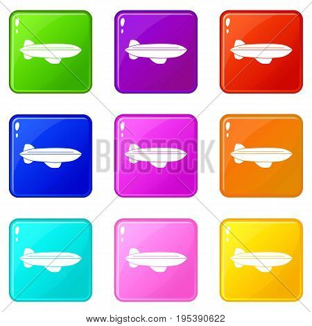 Blimp aircraft flying icons of 9 color set isolated vector illustration