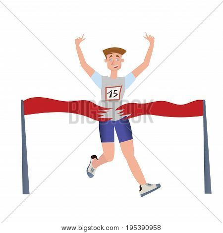 Finishing runner man. Athlete, marathon winner. Vector illustration isolated on white background