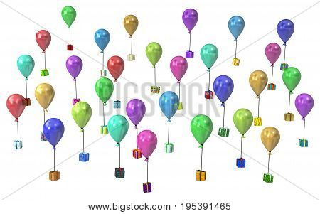 Gift large group 3d illustration party balloon flying presents horizontal over white