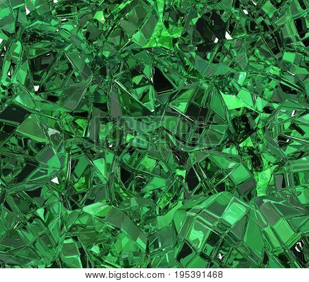 Emerald green material surface abstract 3d illustration horizontal background